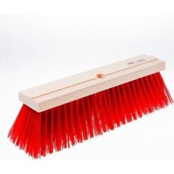 Straatbezem hout met kunstvezel rood