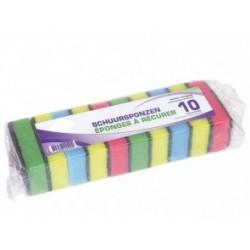 Schuurspons 9 x 6 x 3 ass (pakje 10st )